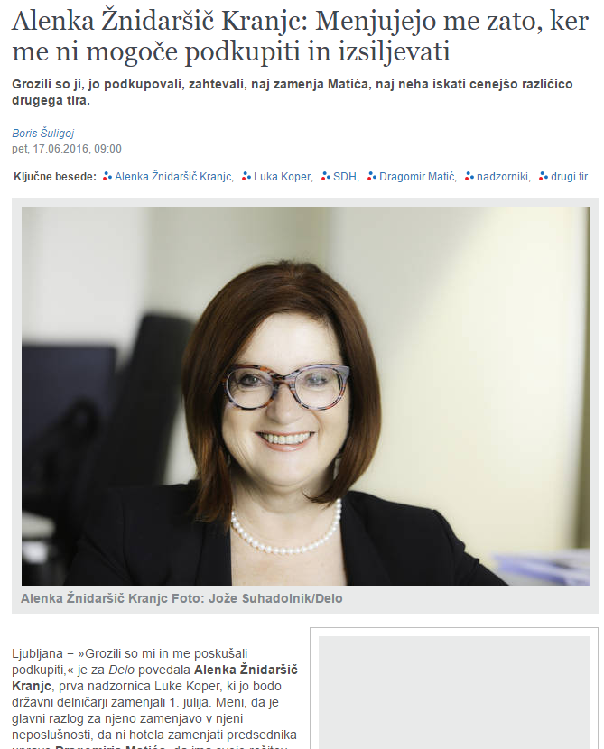 Alenka Žnidaršič Delo grožnje