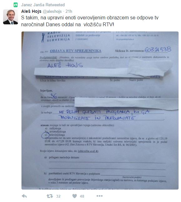 Hojs odjavil RTV tvit Janša