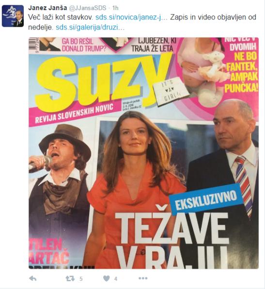 Janša tviter Suzy ločitev