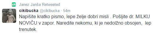 Milko Novič Janša tvit