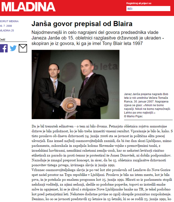 Mladina Janša govor plagiat Blair