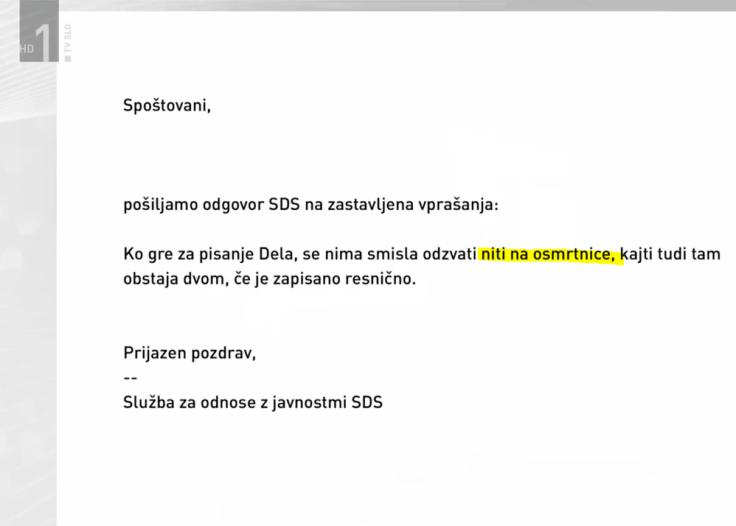 SDS Janša RTV dnevnik osmrtnice Delo