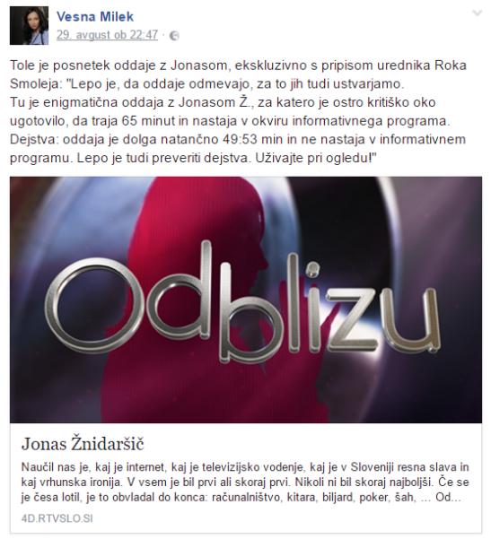 Vesna Milek FB Jonas komentar Smolej