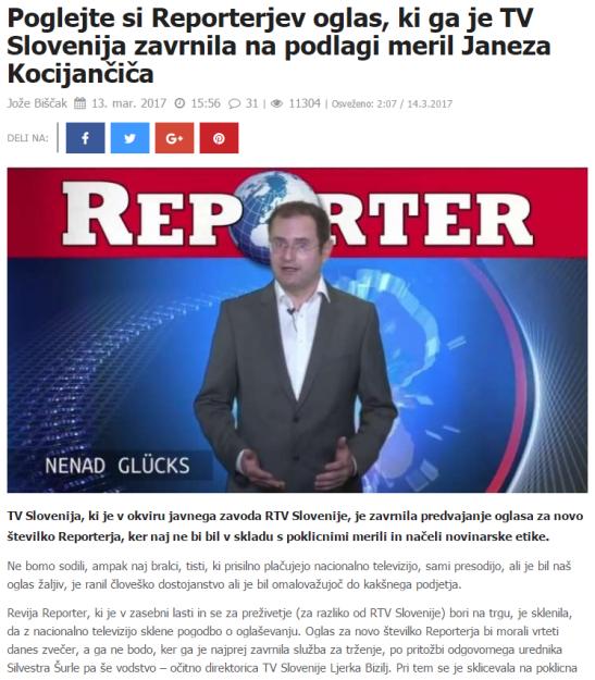 Reporter oglas cenzura