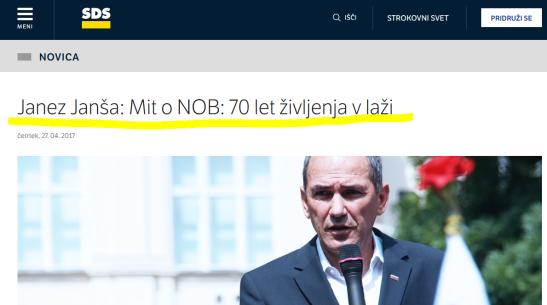 Janša NOB mit laž