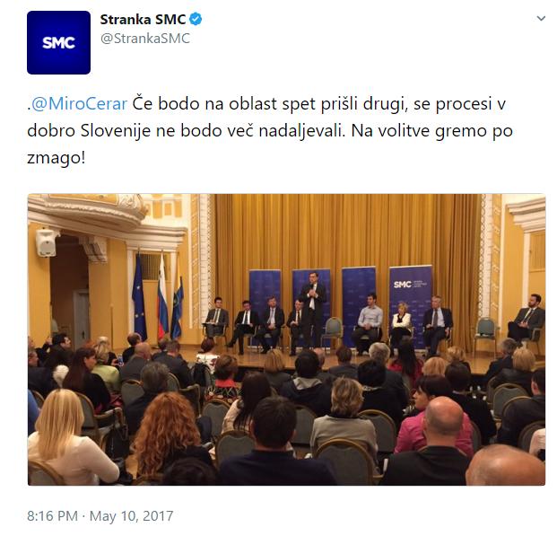 SMC Cerar zmaga tvit drugi