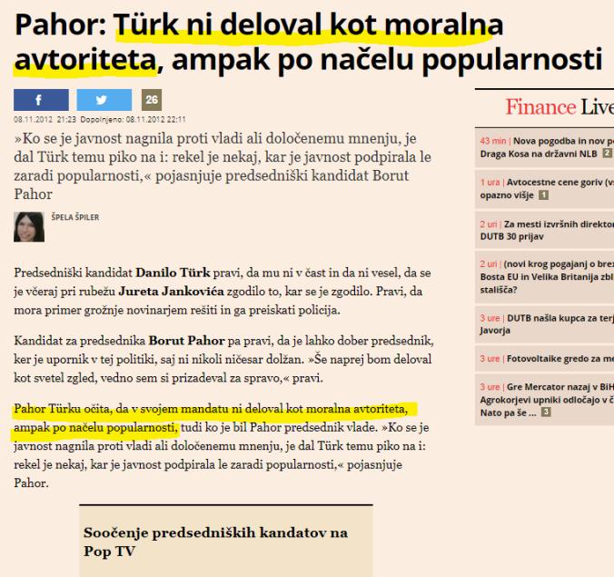Pahor moralna avtoriteta Turk Finance