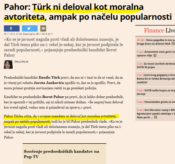 Pahor moralna avtoriteta Turk Finance