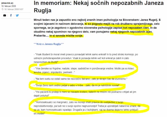 Rugelj Dnevnik seksizmi