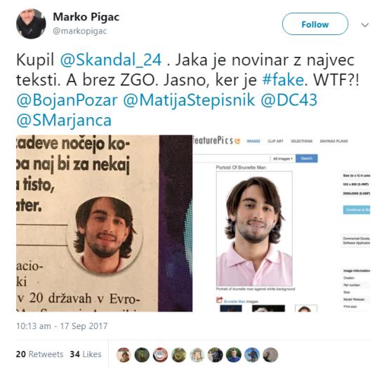 Pigac škandal fake novinar