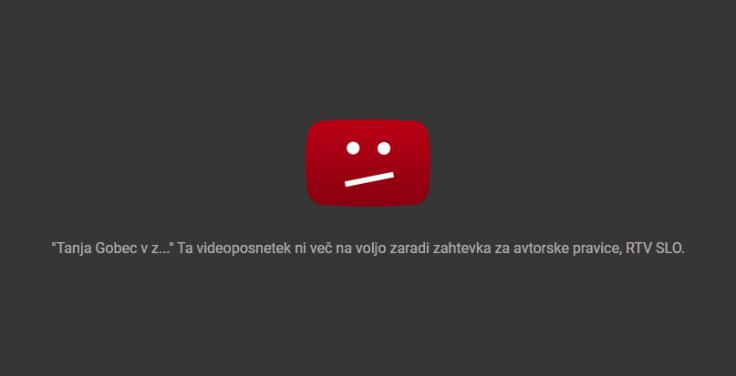 youtube Gobec izbris