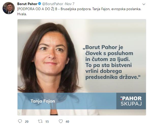 Fajon Pahor podpora
