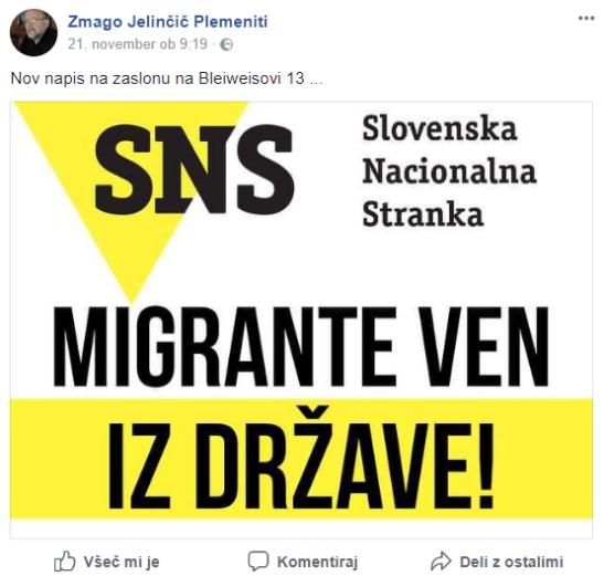 Jelinčič napis migranti FB