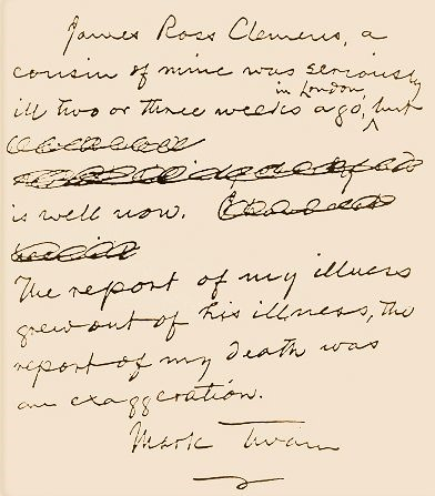 Mark Twain report of my death letter May 31, 1897-8x6