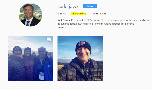 Erjavec instagram število sledilcev