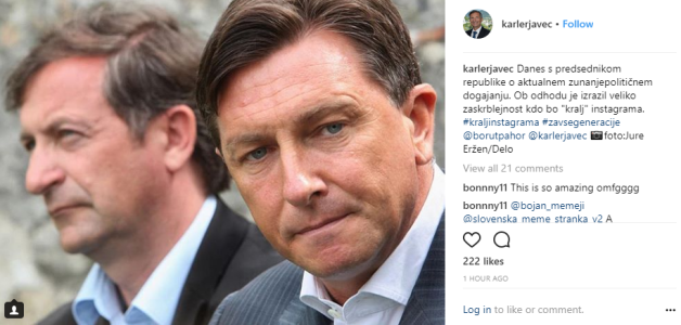 Erjavec o Pahor instagram