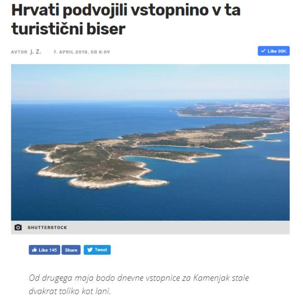 Rt Kamenjak vstopnina višja za Slovence druga