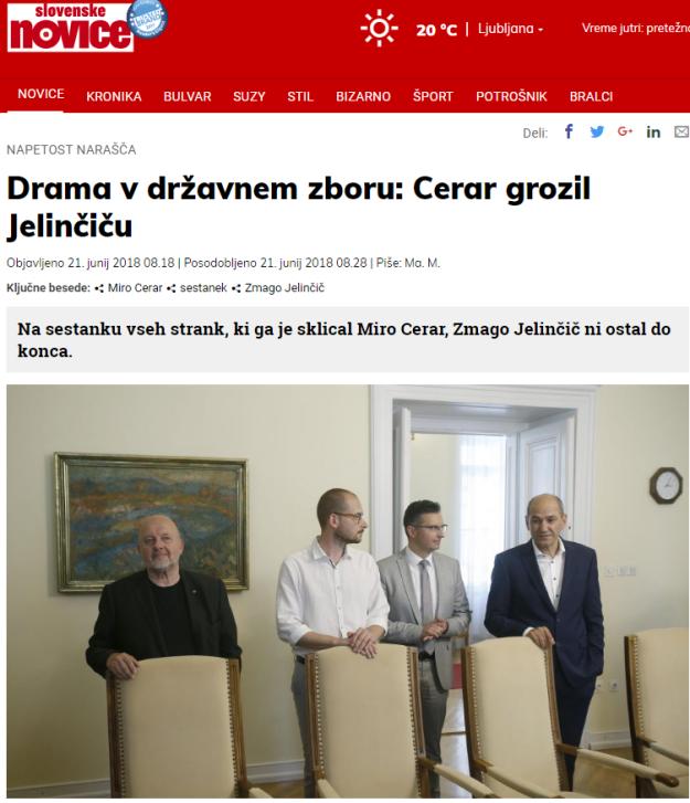 Cerar grozil Jelinčič SN