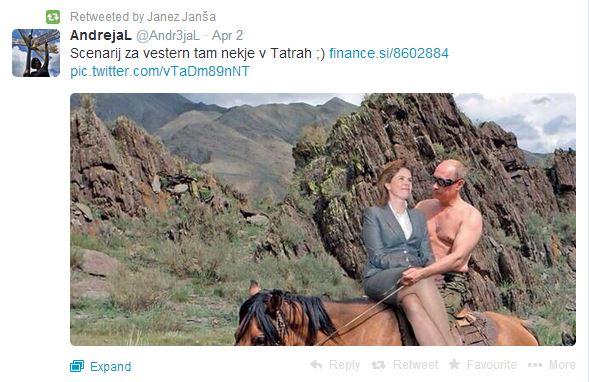 Janša tvit Putin in Bratušek
