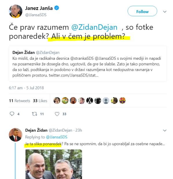 JJ židan mediji objemi tvit