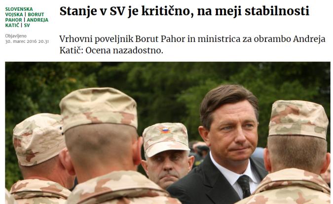 Pahor stanje kritično vojska delo