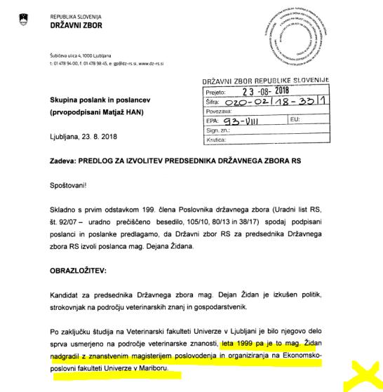 predlog za izvolitev v naziv Židan dz