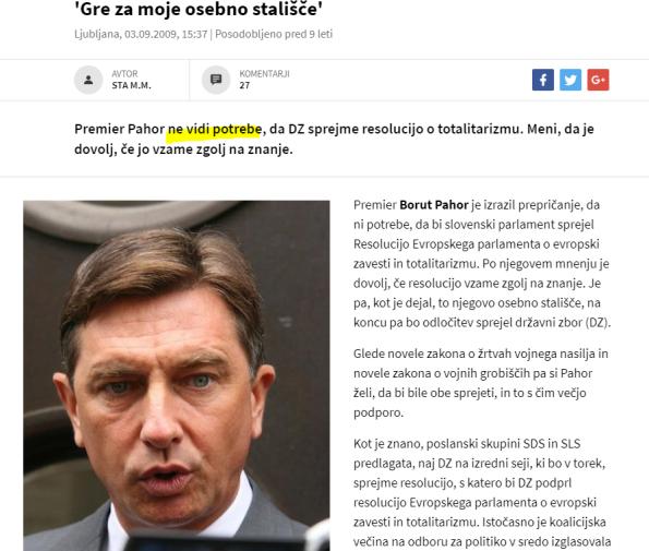 Pahor resolucija 24ur ni potrebe