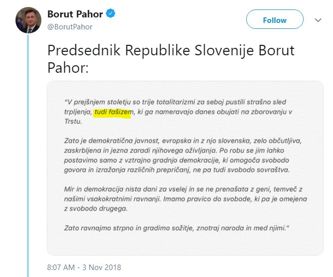 Pahor tudi fašizem