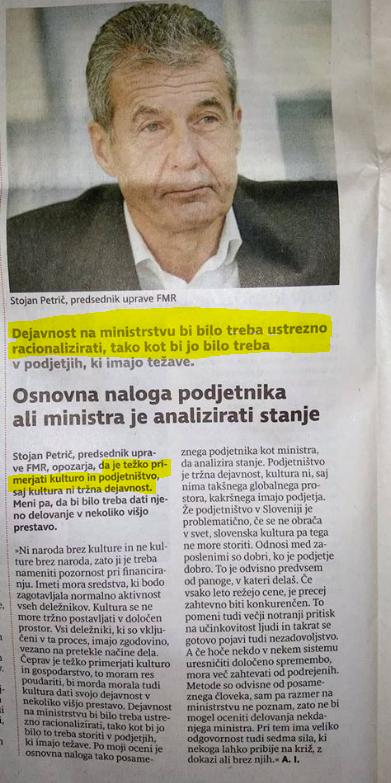 petrič kultura ministrstvo