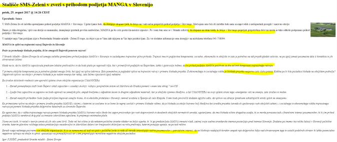 SMS zeleni Slovenije Magna pismo