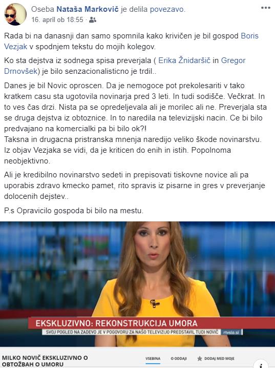 Nataša Markovič o meni FB Novič
