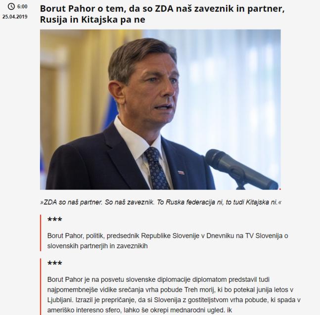 Pahor partner ZDA ne Rusija