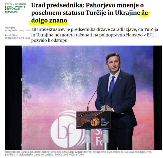 Pahor že dolgo znano mnenje javno pismo Delo