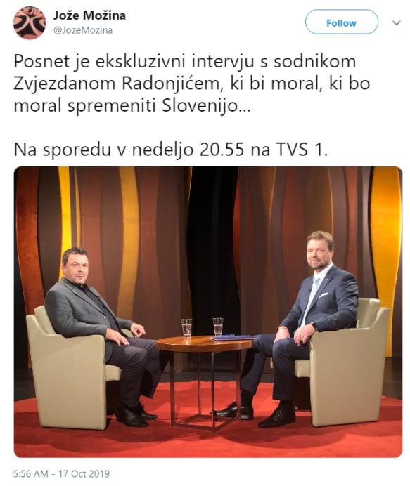 Možina Radonjić intervju tvit