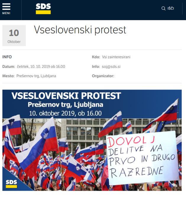 SDS vseslovenski protest vabilo