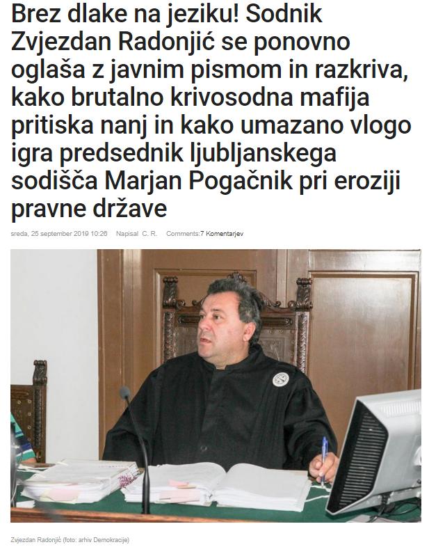 Radonjić demokracija pismo Pogačnik